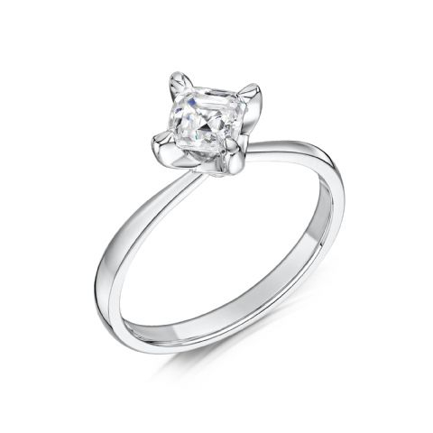 0.5 Carat GIA GVS Diamond solitaire 18ct White Gold. Asscher cut. Engagement Ring MWSS-1189/050